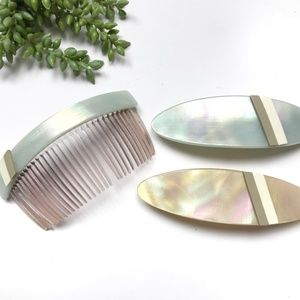 Vintage Hair Comb French Barrette Iridescent Set
